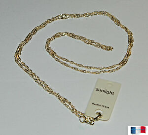 COLLIER-CHAINE-MAILLE-SINGAPOUR-TORSADE-60CM-PLAQUE-OR-NEUF-N-2
