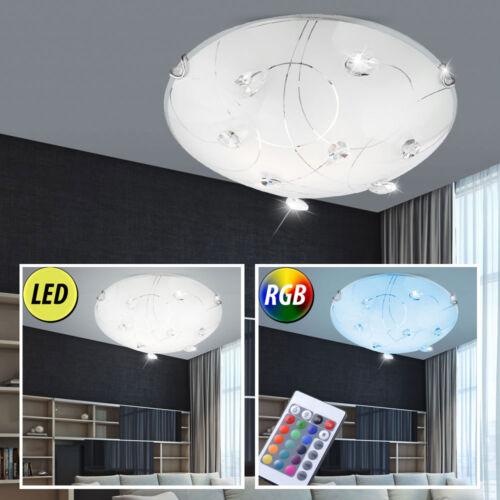 Design LED Decken Leuchte dimmbar Glas Lampe RGB Fernbedienung Kristalle klar