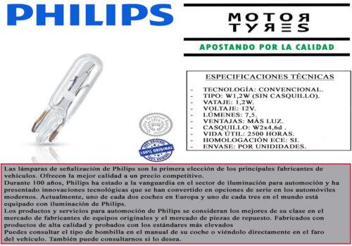 30/% LUZ 12V COCHE MOTO 1 BOMBILLA PHILIPS VISION W1,2W W2x4,6d T5 LAMPARA
