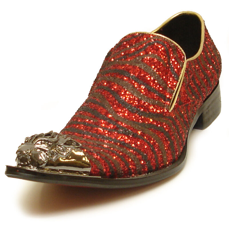 FI-6982 Black & Red Glitter Leather shoes by Fiesso gold Metal Tip Slip on Loafer