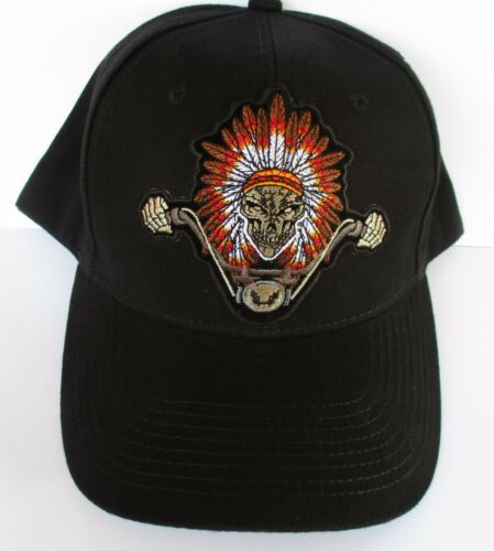 Indian head dress Skull biker 100% Cotton Cap Hat Embroidered Design Men's Shed