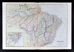 1883 Blackie Map - Brazil Rio de Janeiro Sao Paulo Salvador Amazon South America
