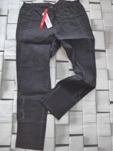 Sheego Jeans Hose Stoffhose Gr. 48 Kurzgröße 24 Schwarz Spitze Gummizug 368 NEU