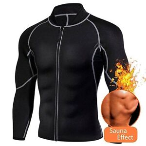 Mens Weight Loss Sauna Suit Sweat Neoprene Body Shaper Fat Burner Long Sleeve UK