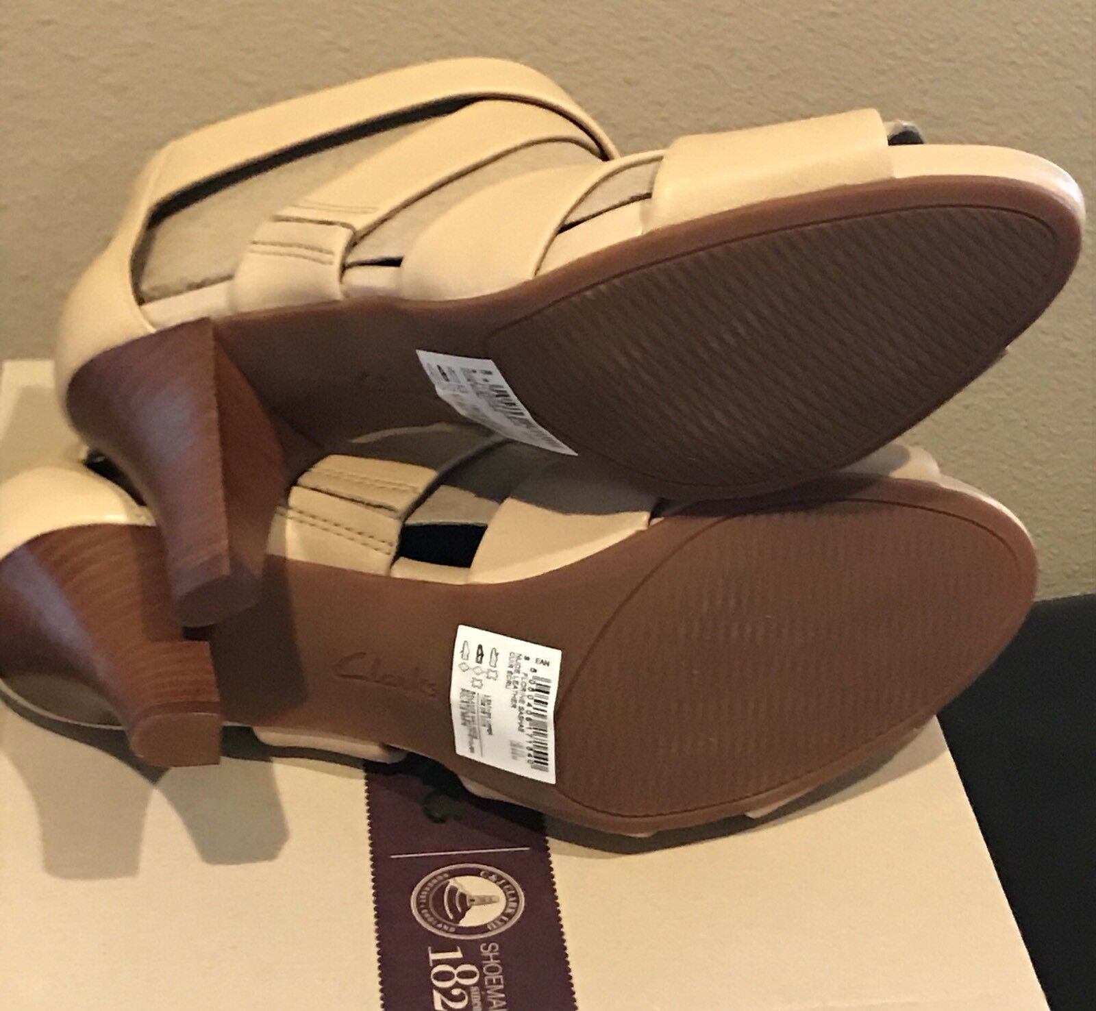 NEW Clarks Artisan Florine Sashae Leather Sandals Heels Heels Heels Sz 9.5 Nude Beige 9 1 2 53ce8f