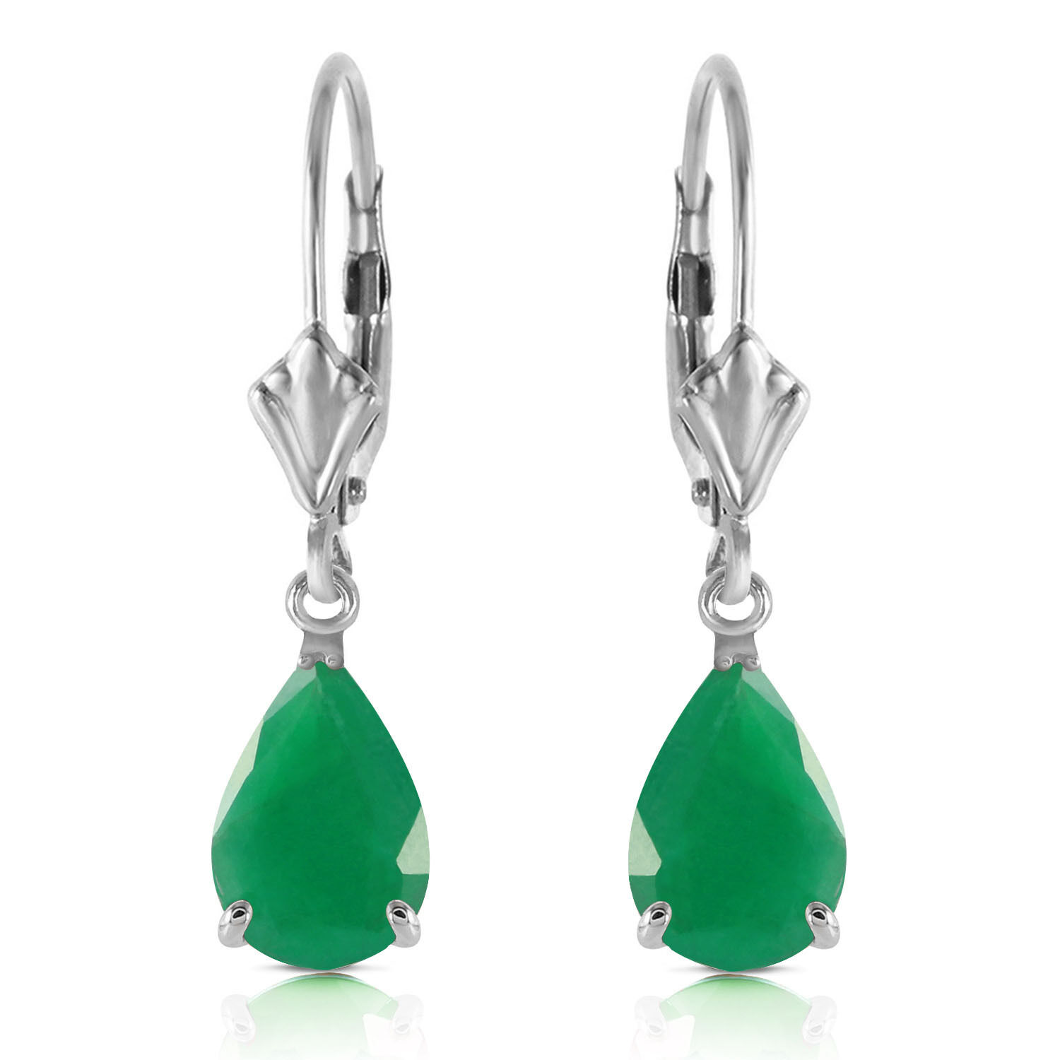 2 CTW 14K Solid White gold Rivalry Emerald Earrings
