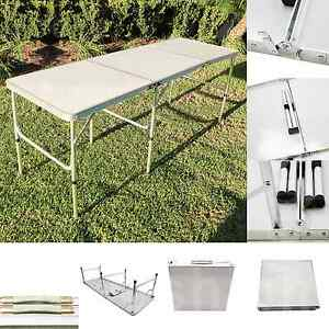 Image Is Loading Aluminum 6ftx2ft Tri Folding Table Outdoor Picnic Camping