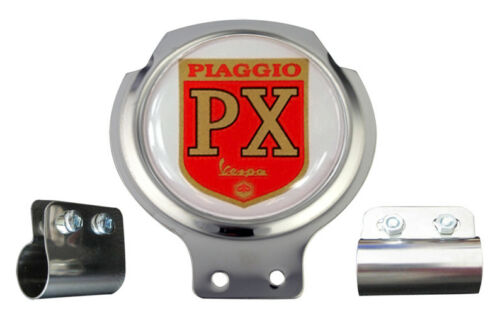 FREE BRACKET /& FIXINGS Piaggio PX Red Logo Vespa Scooter Bar Badge