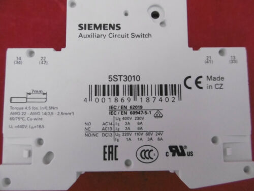 Siemens 5sy41 MCB c2 backup sportello automatico 5st301.as