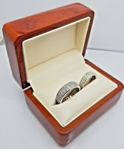 Luxury real wood walnut double wedding ring box Engagement