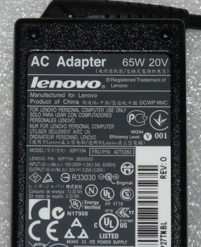 NEW GENUINE LENOVO 3000 THINKPAD X EDGE R T Z60 CHARGER ADAPTER 65W 20V 43N9176