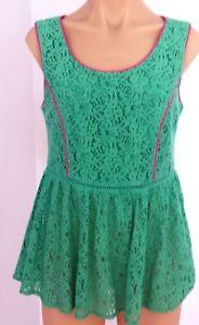 PINK-STITCH-Size-8-Womens-Green-Peplum-Lace-Top-Half-Lined-Back-Zip-BNWT