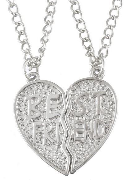 Best Friend Broken Heart Silver Tone 2 Pendants Necklace Bff