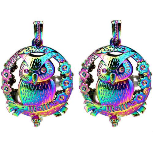 2PCS-C969 Rainbow Perle Cage Charm Owl Couronne Diffuseur Médaillon