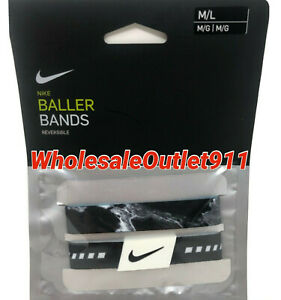 New-Nike-Set-of-2-Pair-Baller-Bands-Medium-Large-Reversible-Bracelets-Black-C