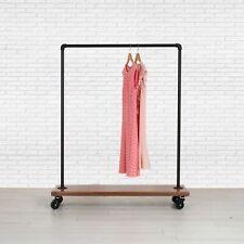 Industrial Pipe Rolling Clothing Rack With Cedar Wood Shelf On Wheels