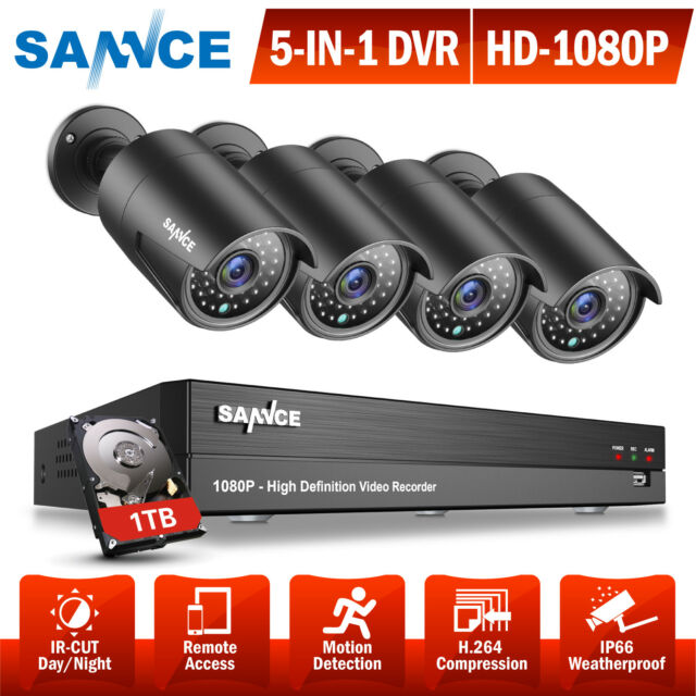SANNCE 4CH 5IN1 DVR Outdoor Night Vision Outdoor CCTV Security Cameras System 1T