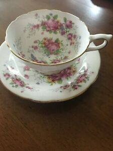 REDUCED-Vintage-Salisbury-Bone-China-Floral-Tea-Cup-amp-Saucer-England-Numbered