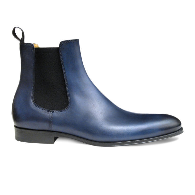 MEN HANDMADE GENUINE LEATHER Schuhe Blau ANKLE HIGH CHELSEA CASUAL BOOTS