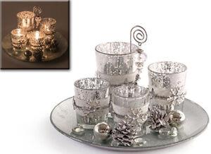 Weihnachtsdeko Auf Teller.Weihnachtsdeko Windlicht Set Mit Teller Silber 18 Teilig 960946