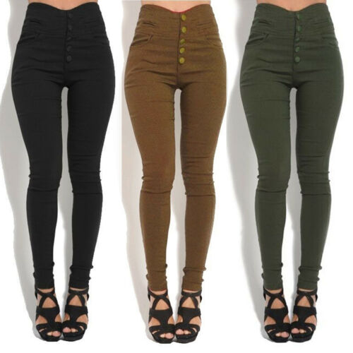 Women Lady Pencil Trousers Skinny Stretch High Waist Pants Leggings Cargo Casual