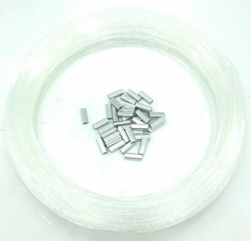 400lb Test 2.0mm Monofilament Leader Line 100 Yards with 50 Aluminum Crimps