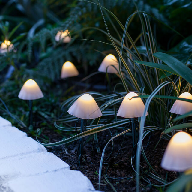 Set Of 12 Mushroom Solar Stake Garden Lights 20cm Warm White Led By Lights4fun For Sale Online Ebay