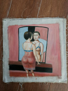 Hand-made-Modern-abstract-Oil-Painting-on-Canvas-Fat-woman-no-frame-H047