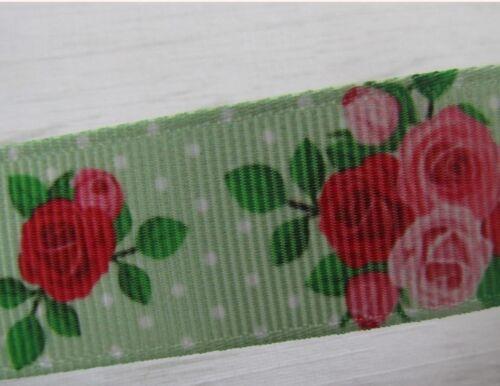 FLOWER GROSGRAIN RIBBON 1 2 3 METRE CHOICE OF DESIGN BOWS CAKES  7//8  22 MM