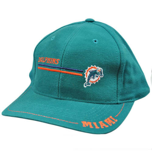 NFL Miami Dolphins Vintage Vieja Vieja Vieja Escuela Factura Plana Teal Naranja Logo 7 Gorra 57707d