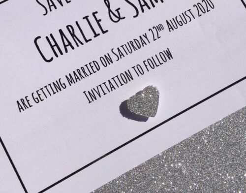 Glitter Heart Personalised Handmade Save The Date Cards /& Matching Envelopes