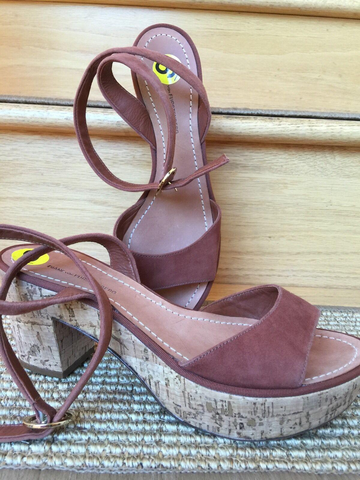 Diane von Furstenberg DVF Odelia Brown Suede Platform Wedge Cork Heels Size 9