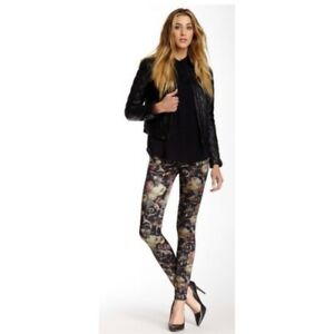 7-For-All-Mankind-Jeans-26-Pants-Silky-Floral-Black-Skinny-Jegging-Stretch