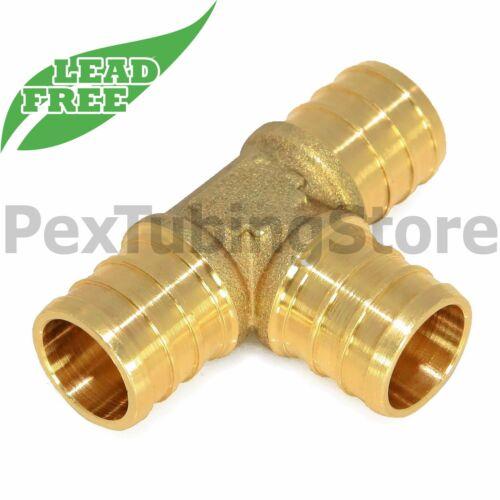 """100 3//4/"""" PEX Tees LEAD-FREE Brass Crimp Fittings"""
