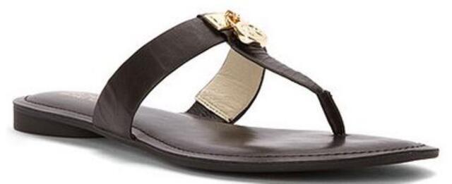 277441d08344 Women s MICHAEL Michael Kors HAMILTON FLAT Thong Sandals Round Toe Leather  Black