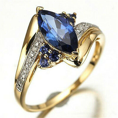 Size 6,7,8,9 Fashion Womens Blue Sapphire Gold Filled Engagement Wedding Rings