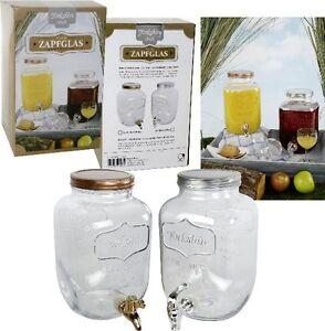 zapfglas saftspender glas mit zapfhahn getr nkespender 4 liter ebay. Black Bedroom Furniture Sets. Home Design Ideas