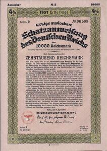 1935 Nazi German Berlin Treasury Bond-10000 Reichsmark Bond-4 1//2/%