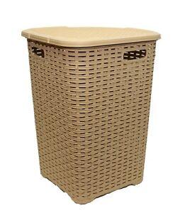52L-Large-Woven-Plastic-Corner-Laundry-Bin-Washing-Multi-Storage-Basket-L-Brown