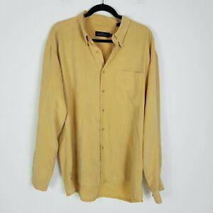 BUGATCHI-UOMO-Classic-Fit-Modal-Long-Sleeve-Casual-Shirt-XL-Yellow-Check