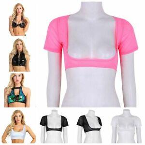 Women Open Bust Leather Shiny Bralette Bra CROP TOP MESH T-shirt Tank Tops Vests