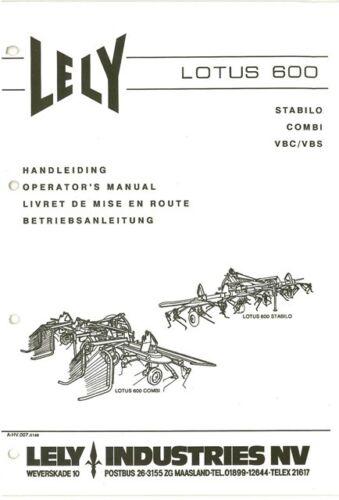 Lely Tedder Lotus 600 Combi Vbc VBS Manual del operador