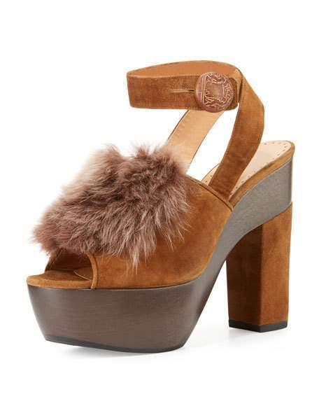 Alexa Wagner Gretchen Fur Ankle-Wrap Sandal, Made Made Sandal, in ITALY -- size 7, Worn ONCE! 3a0f8e