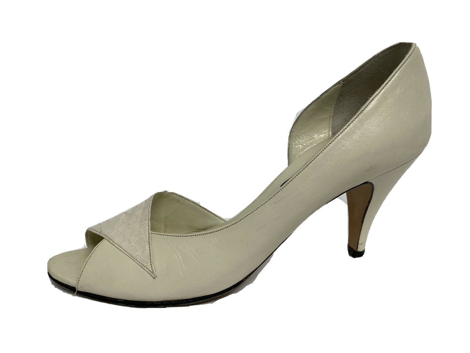Anne Klein women's shoes vintage heels leather open toe made in Italy size 8N