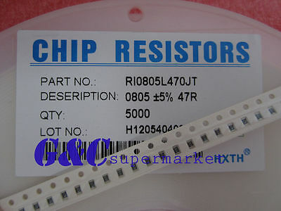 5000PCS Resistor 47R Ohm  0805 SMD RoHS NEW GOOD QUALITY