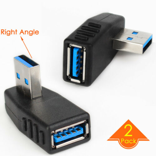 2pc Right Angle USB 3.0 to Left Facing Vertical Female Adapter Coupler Connector