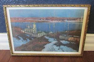 Vtg-Framed-Russian-Winter-Art-Print-Teetshorn-039-s-Book-Exchange-Texas
