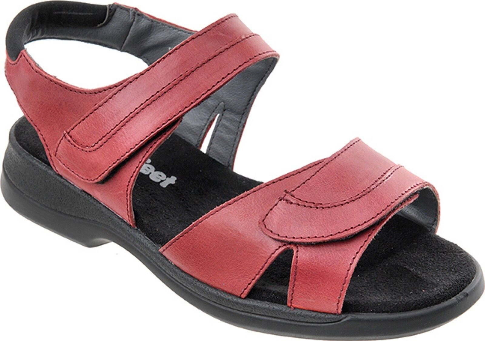 Cosyfeet Extra Spacieux Cher Femmes Sandales Rouge 6e pour Taille UK 3