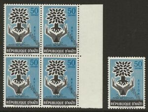 Haiti-1960-WRY-Alphabetisation-BLOCK-CB25-Variety-SHIFTED-OVPT-Normal-VF-NH