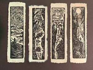 SET 4 Black White Woodcut Prints Day Nature Collection for Hikers Tree Huggers